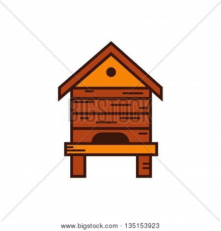 Honey bee beehive illustration. Beehive vector symbol. Bee, honey, bee house, honeycomb, beehive, flower. Outline style honey bee beehive. Vector icon beehive. Mead bee beehive illustration