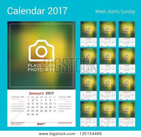 Wall Monthly Calendar for 2017 Year. Vector Design Print Template with Place for Photo. Week Starts Sunday. 3 Months on Page. Set of 12 Months