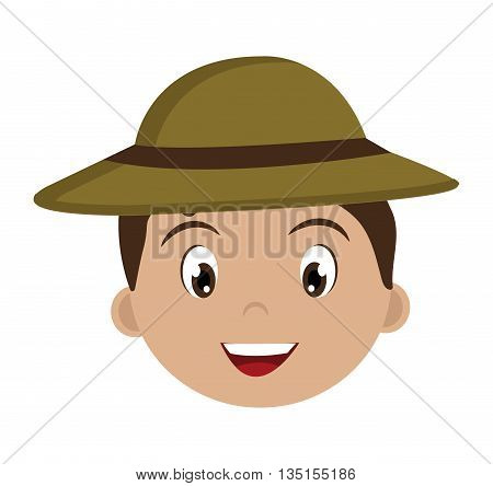 avatar boy wearing green hat with brown loop over isolated background, vector illustration