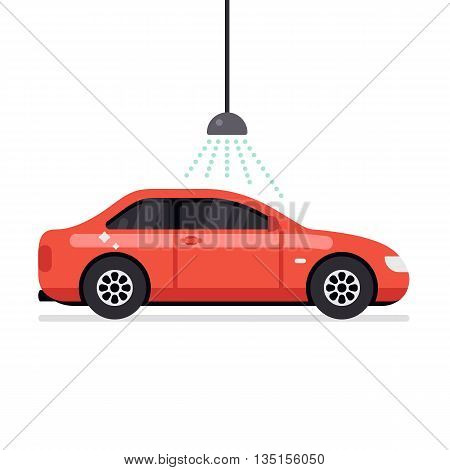 Car wash automatic service. Automatic car wash facilities innovative self service foaming brush unit equipment. Flat vector illustration isolated on white background.