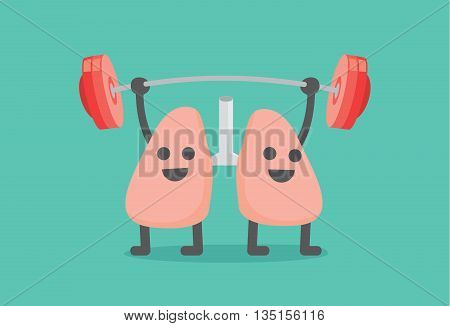 Lung enjoy with weight lifting. This illustration about people have healthy lung