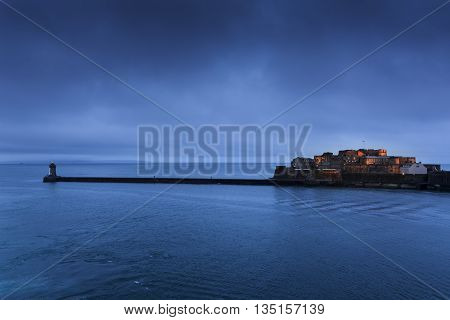 Cornet Castle on Guernsey island, UK, at dawn