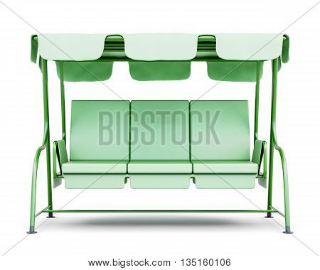 Garden swing with canopy isolated on white background. Front view. 3d rendering