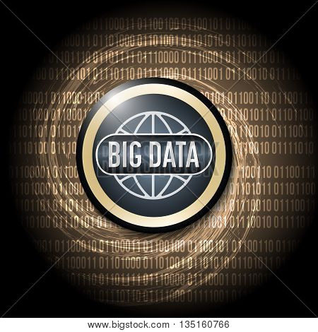 Dark background with abstract spirals and icon of big data