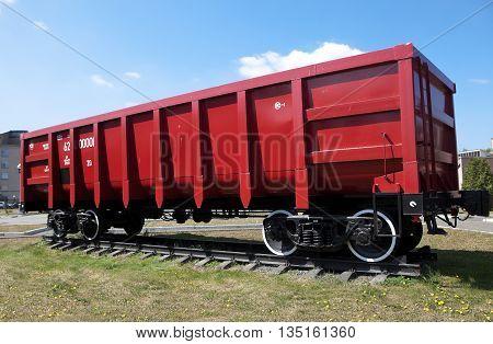 "NIZHNIY TAGIL, RUSSIA - JUNE 1, 2016: Photo of 4-axle wagon with a hollow body, model 12-175. ""Uralvagonzavod"" Museum."
