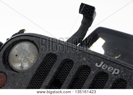 Novgorod region, Russia, June 18, 2016 , journey, Jeep Wrangler Novgorod region, Wrangler is a compact four wheel drive off road and sport utility vehicle