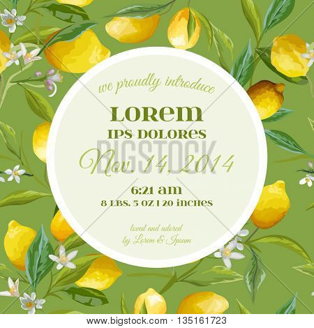 Baby Arrival or Shower Card - with Lemon Floral Design - in vector