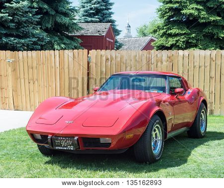 DEARBORN MI/USA - JUNE 18 2016: A 1977 Chevrolet Corvette car at The Henry Ford (THF) Motor Muster car show, held at Greenfield Village, near Detroit, Michigan.