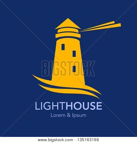 Lighthouse business sign template. Lighthouse & abstract waves icon. Nautical banner. Corporate identity template. Editable layered vector illustration. Sample text.