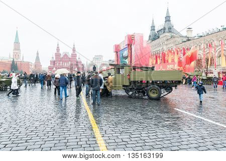 MOSCOW, RUSSIA - November 7, 2014 - Parade on Red Square in Moscow commemorating similar event that took place in 1941 at the beginning of WWII