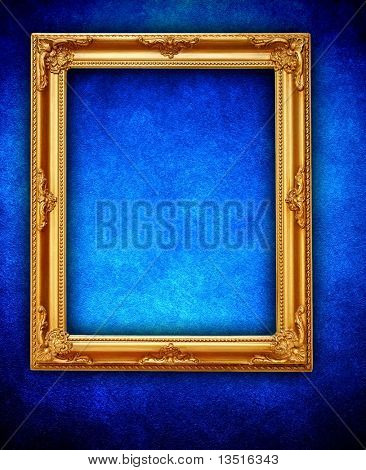 picture frame on blue wall