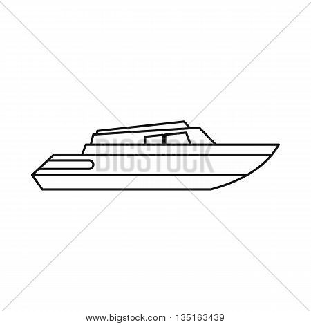 Planing powerboat icon in outline style isolated on white background. Sea transport symbol
