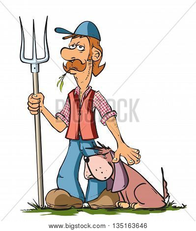 Vector illustration of funny farmer and his dog.