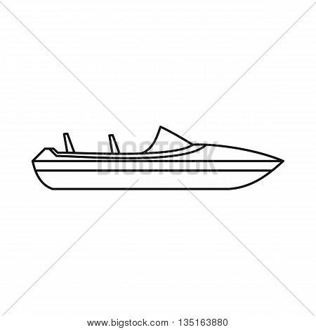 Little powerboat icon in outline style isolated on white background. Sea transport symbol