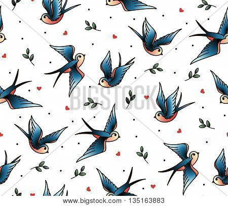 Old school tattoo vector seamless pattern with swallows twig heart.