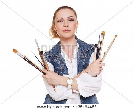 Woman artist isolated at white. Blonde middle aged woman with brushes, painter portrait. Artistic hobby, creative person. Fine art, art classes, education concept. professional artist.