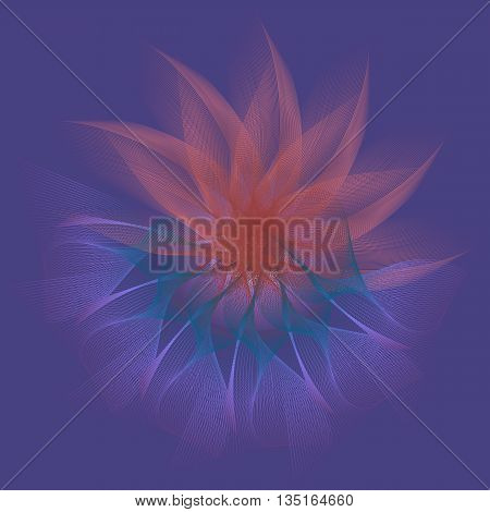 Floral abstraction on a blue background. Symbol of balance, harmony and prosperity