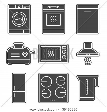 Kitchen appliance gray solid icon set. Home electronic devices. Stock vector isolated illustration.
