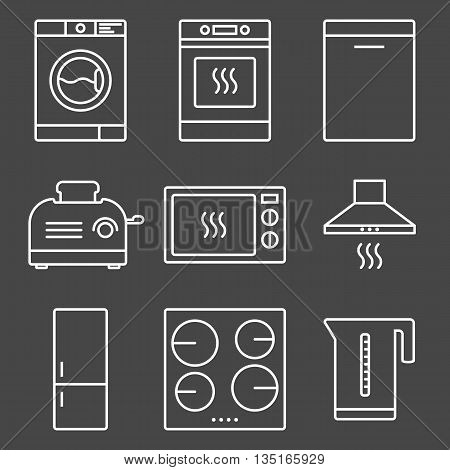 Kitchen appliance white outline icon set. Home electronic devices. Stock vector isolated illustration.