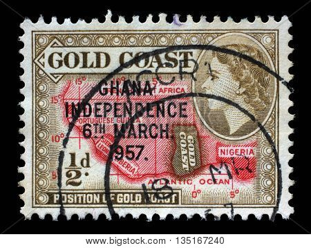 ZAGREB, CROATIA - SEPTEMBER 18: A stamp of Gold Coast overprinted in black, Ghana Independence shows country on African continent and queen Elizabeth II, 1957, on September 18, 2014, Zagreb, Croatia