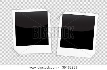 Retro 2 photo frames on transparent background. Blank photo frames for inserting on black space any image you like: from traveling memories loving people couples families and other. Vector illustration