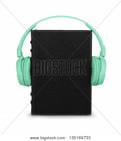 Audiobook concept. Book with headphones isolated on white background