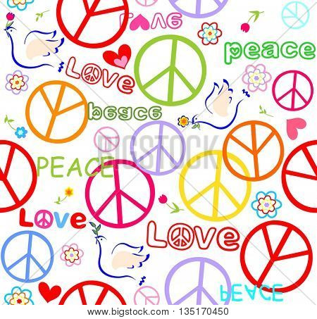 Wallpaper with doves and peace symbol