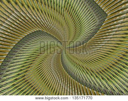 Fractal textured background in warm colors of brown yellow and green with curved lines resulting in a pinwheel appearance.