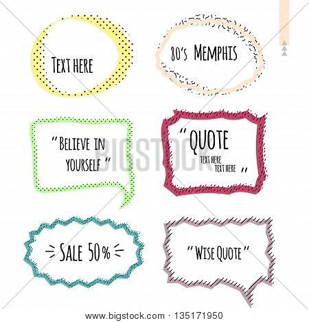 Set of quote forms template, speech bubble. Postmodernist design in Memphis style. Vector