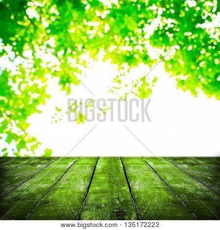 Grunge wooden on blurred nature texture background.