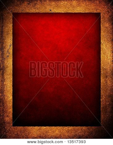 red background with leather frame