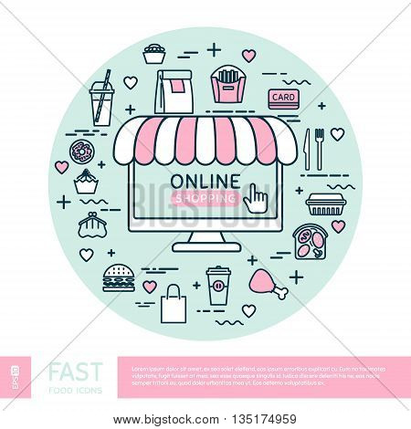Online shopping. Vector thin line icons. Set with fast food. Vector illustration.