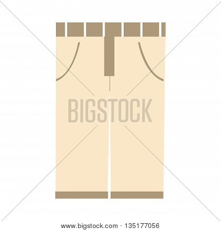 khaki pants front view over isolated background, vector illustration