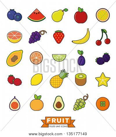 Collection of line fill fruit icons on white background