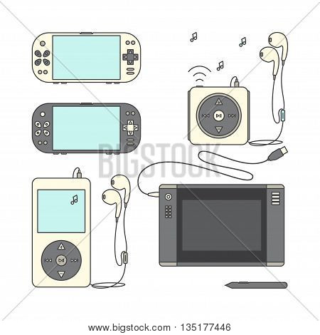 Game gadget Icons. Handheld game console Icons. Music players with headphones. Music device line icons. Pen tablet icon. Pen tablet and sensor pen. Vector illustration on a white background.