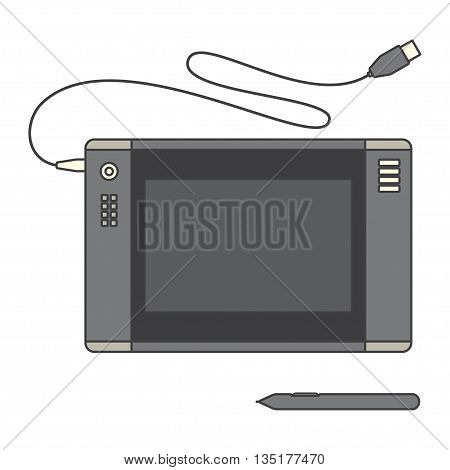 Pen tablet icon. Vector illustration with pen tablet and sensor pen. Pen Tablet over White.