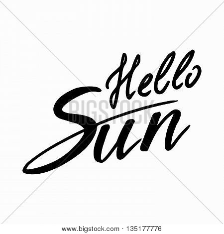 Hello Sun: handwritten vector text on a white background.