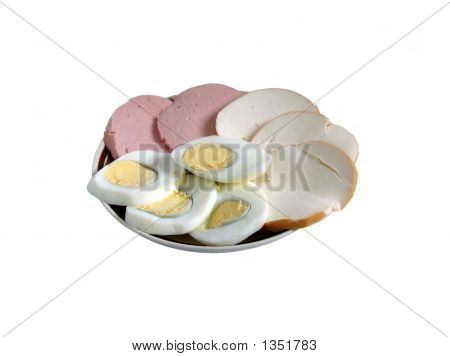 Eggs, Sausauge And Cheese On A Plate