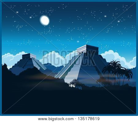 Stylized vector illustration of ancient Mayan pyramids in the jungle at night