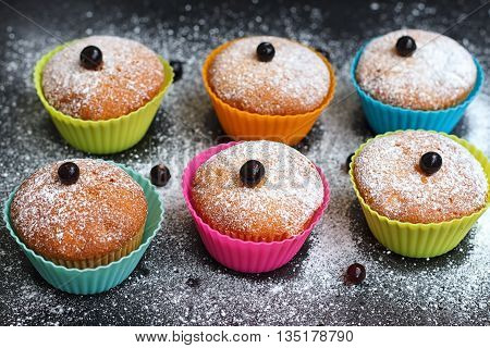 Muffins with black currant in silicone forms sprinkled with powdered sugar poster