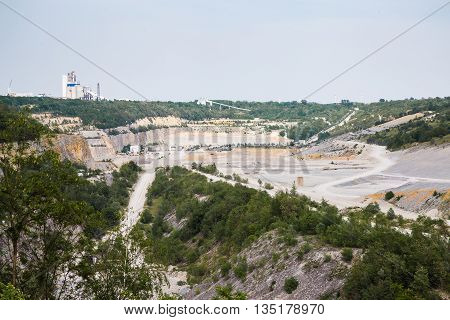 big Bottom of surface cement mining in an open pit mine