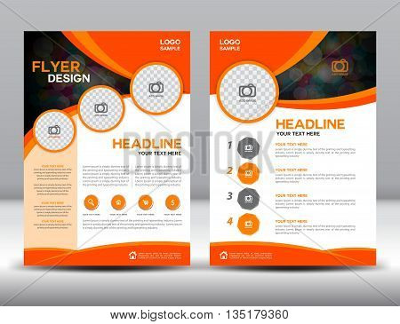 Orange business brochure flyer design layout template in A4 size