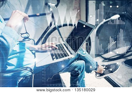 Work process modern Studio Loft.Strategy analyst working coworkers office new business startup.Using Digital world wide chart, graphs interfaces icons.Analyze market stock.Horizontal.Blurred background