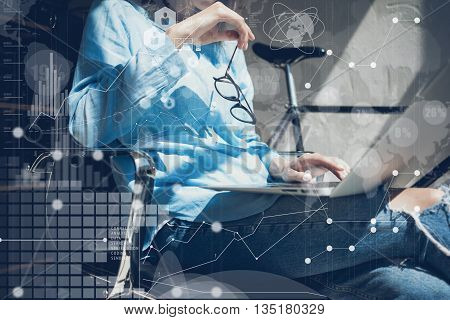 Woman Using modern Laptop Hand.Project Manager Researching Process.Business Team Working Startup Design Loft Studio.Global World Wide Icon Interfaces.Innovations Graphs.Analyze market stock.Blurred