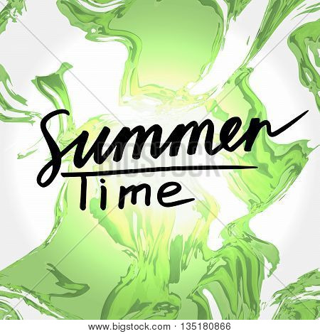 Summer Time: handwritten vector text on colorful liquid background. Handwritten calligraphy text: Summer Time. Sun lettering. Quote written by ink. Letters painted with a brush. Vector illustration.