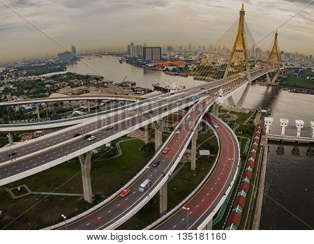 aerial view of bhumiphol bridge crossing chaopraya river important landmark and traffic and land transportation in bangkok thailand