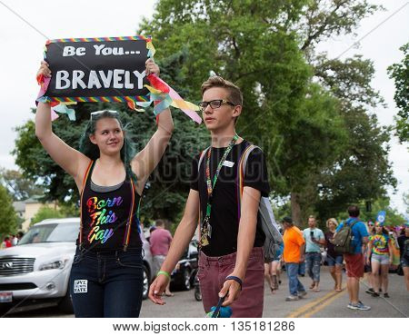Boise, Idaho/usa - June 20, 2016: Two People Proud To Be Themselves And Showing It During The Boise
