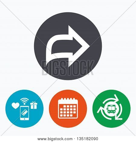 Arrow sign icon. Next button. Navigation symbol. Mobile payments, calendar and wifi icons. Bus shuttle.