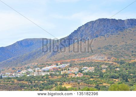 Summer landscape in Crete with Piskopiano village and mountain Greece.