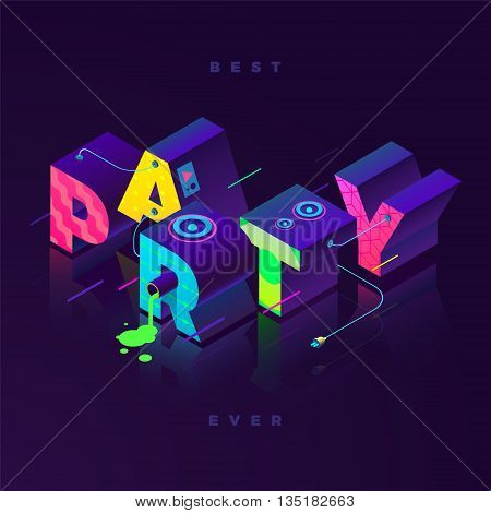 best party ever isometric illustration, neon colors